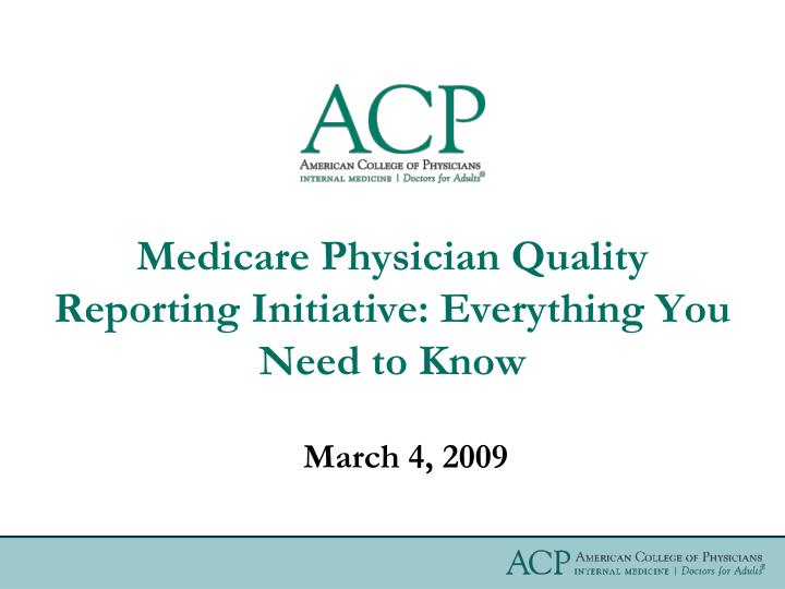 Medicare physician quality reporting initiative everything you need to know