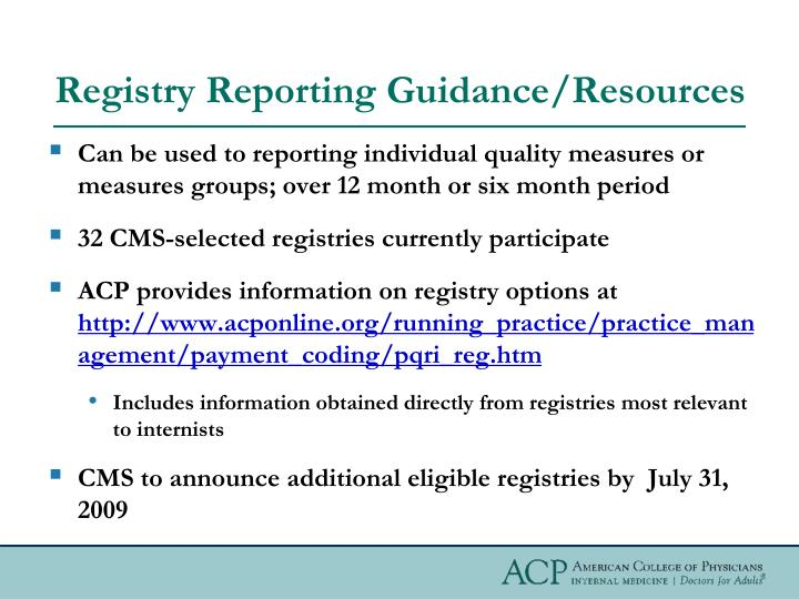Registry Reporting Guidance/Resources