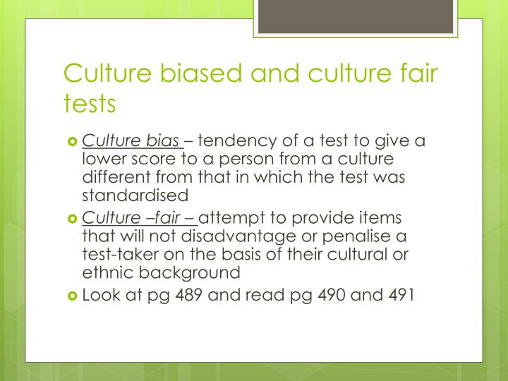 Culture biased and culture fair tests