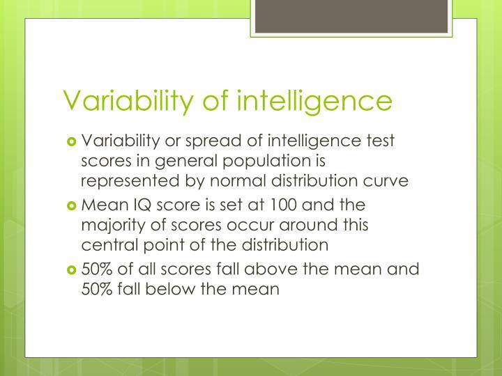 Variability of intelligence