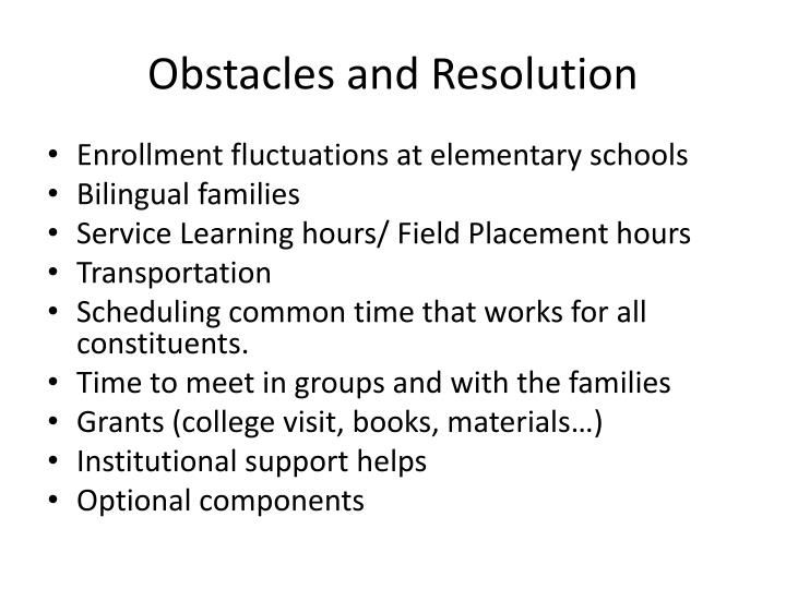 Obstacles and Resolution