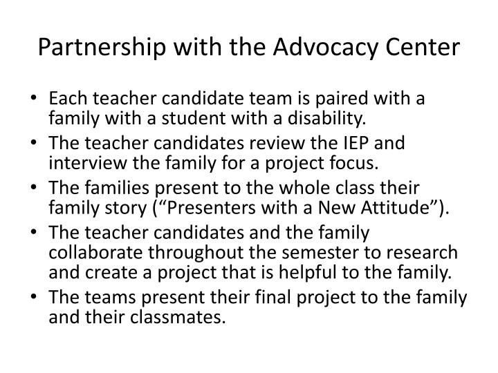 Partnership with the Advocacy Center