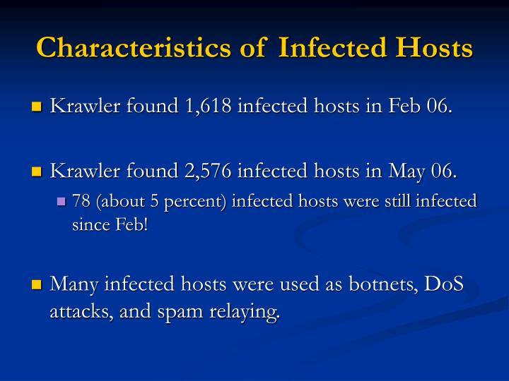 Characteristics of Infected Hosts
