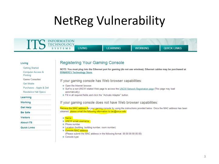 Netreg vulnerability