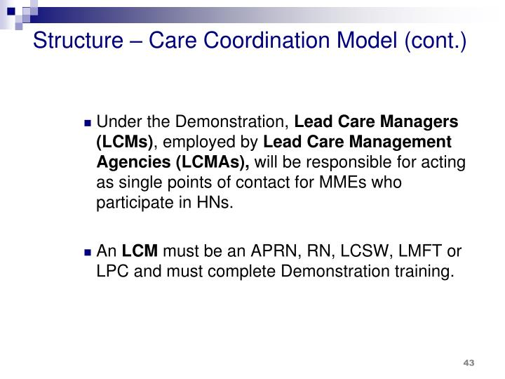 Structure – Care Coordination Model (cont.)
