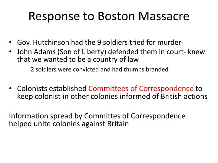 Response to Boston Massacre