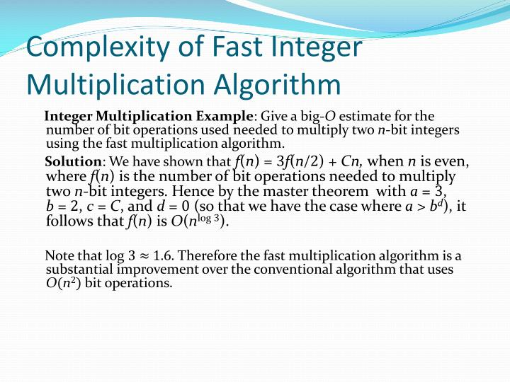 Complexity of Fast Integer Multiplication Algorithm