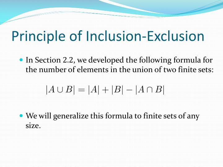 Principle of Inclusion-Exclusion