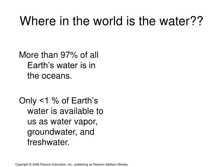 where in the world is the water n.