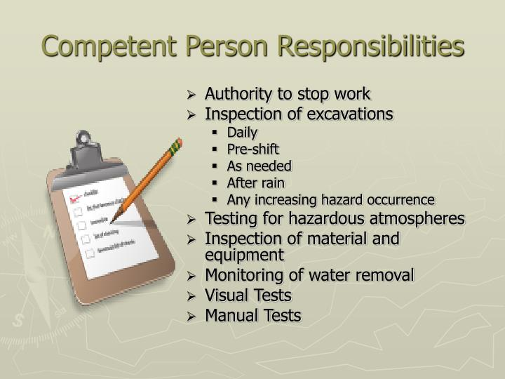 Competent Person Responsibilities