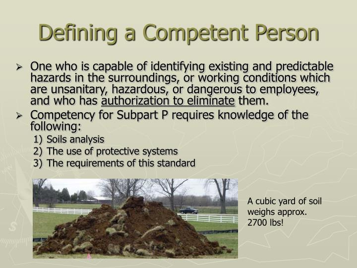 Defining a Competent Person