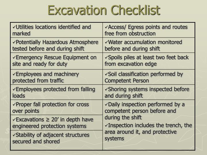 Excavation Checklist