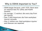 why is osha important to you