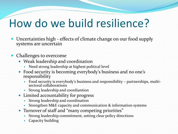 How do we build resilience?