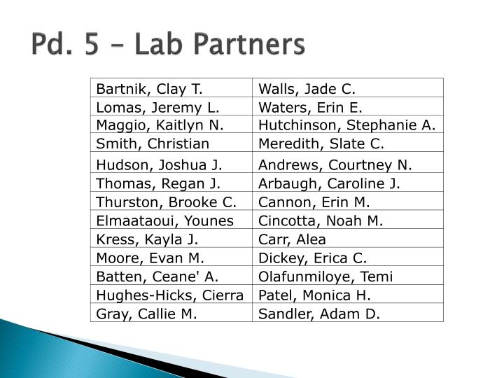 Pd. 5 – Lab Partners
