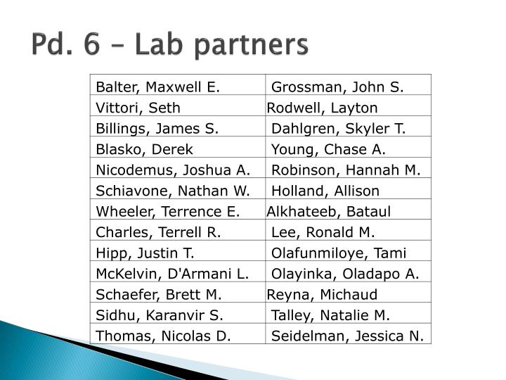 Pd. 6 – Lab partners