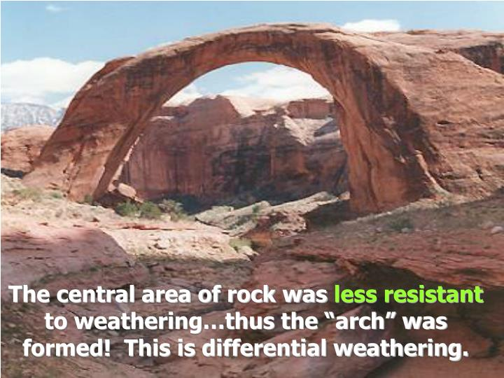 The central area of rock was