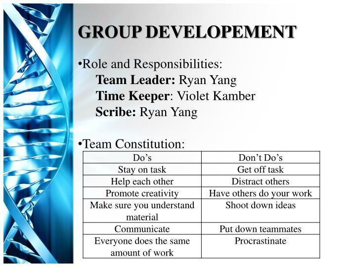 GROUP DEVELOPEMENT