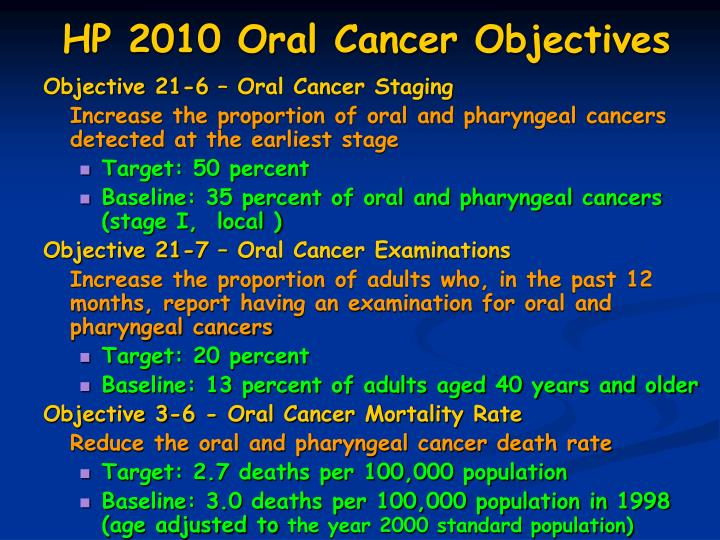 HP 2010 Oral Cancer Objectives