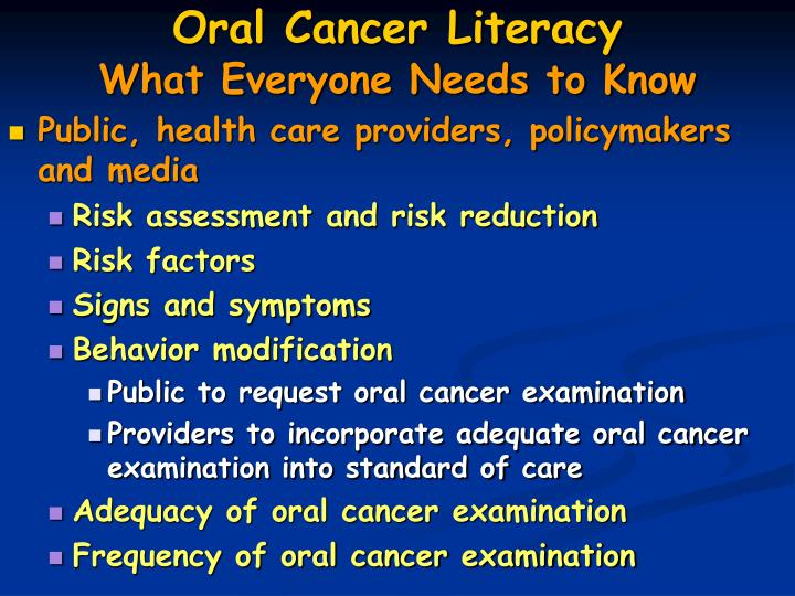 Oral Cancer Literacy