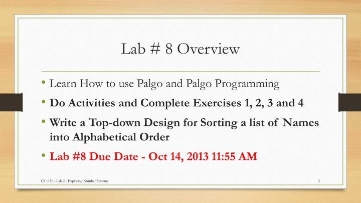 Lab 8 overview
