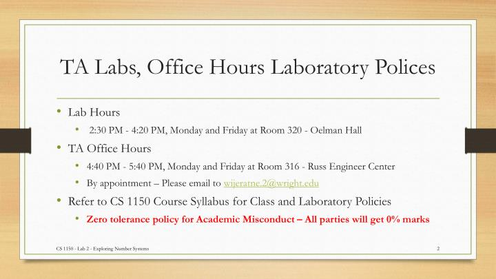 Ta labs office hours laboratory polices