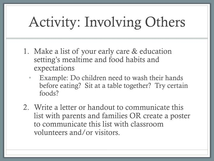 Activity: Involving Others