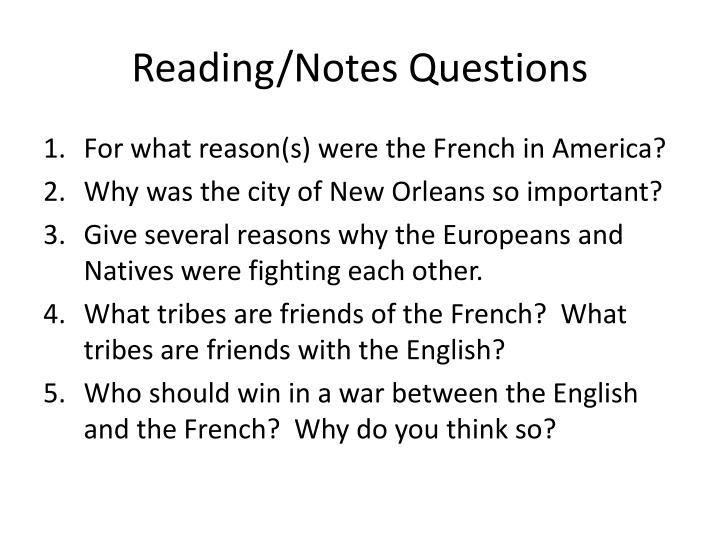 Reading/Notes Questions