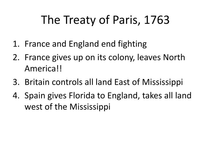 The Treaty of Paris, 1763