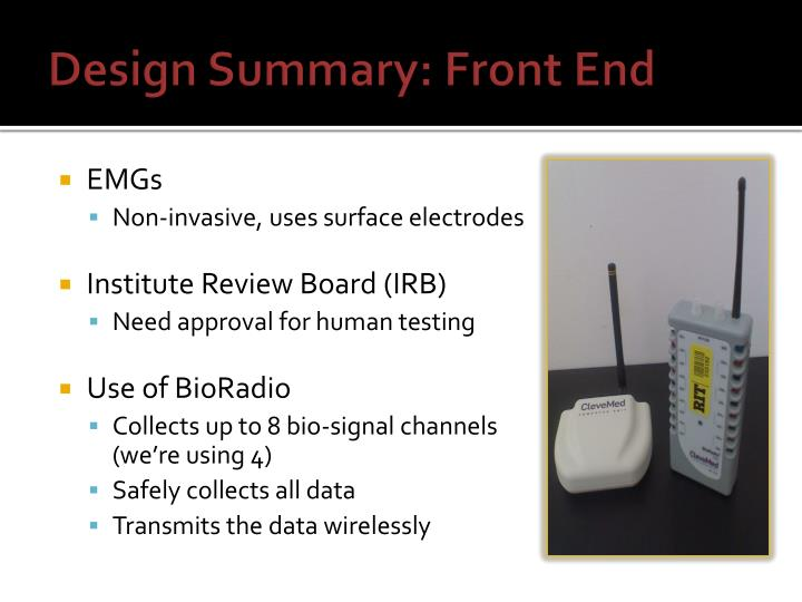 Design Summary: Front End