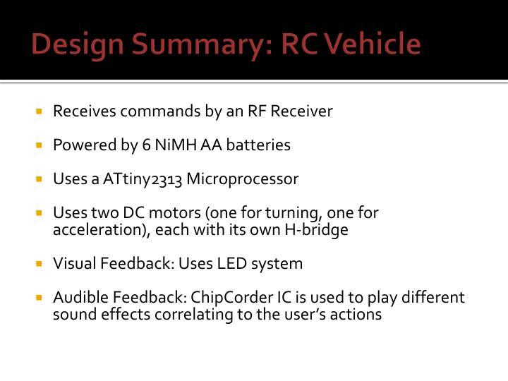 Design Summary: RC Vehicle