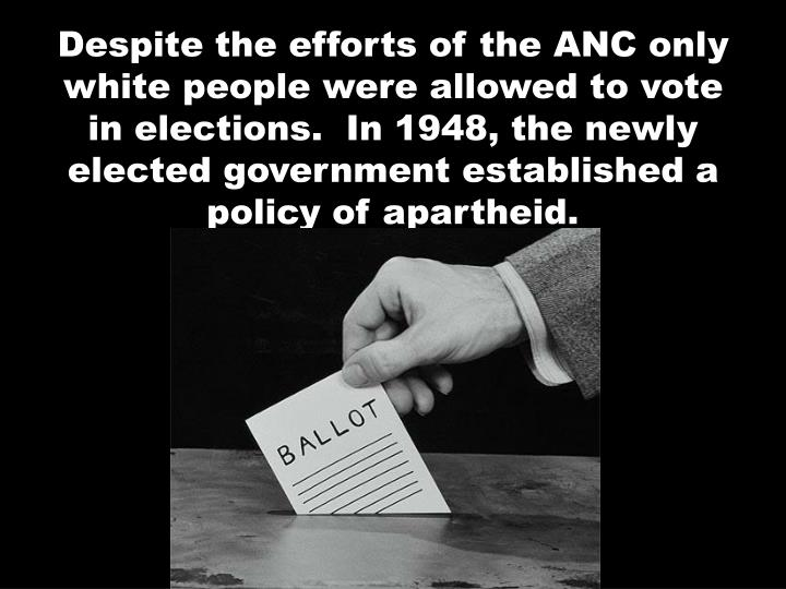 Despite the efforts of the ANC only white people were allowed to vote in elections.  In 1948, the newly elected government established a policy of apartheid.
