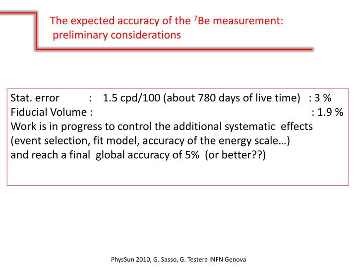 The expected accuracy of the