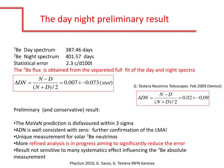 The day night preliminary result