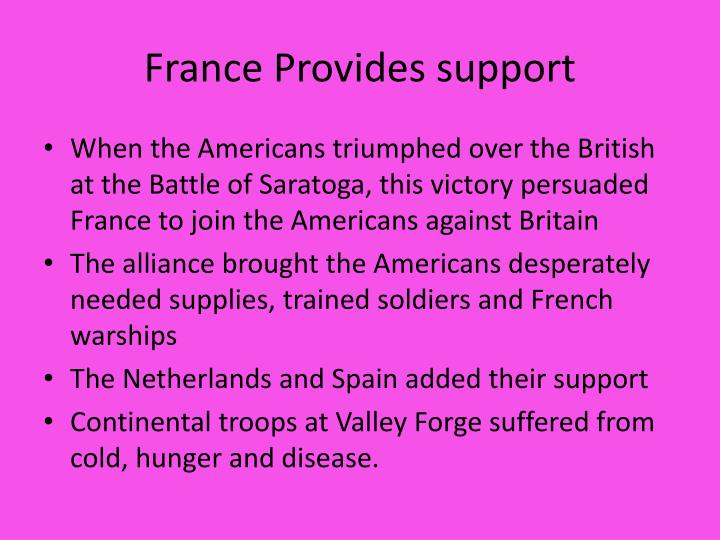 France Provides support
