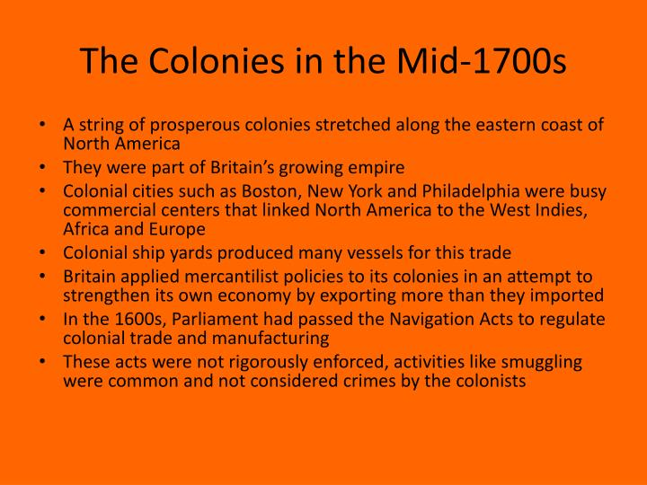 The Colonies in the Mid-1700s
