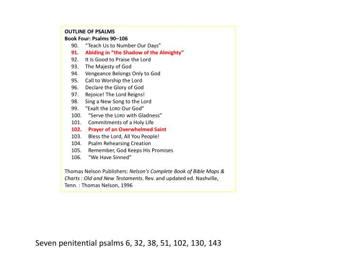 OUTLINE OF PSALMS