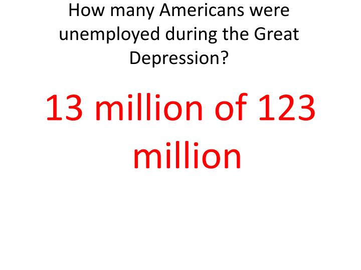 How many americans were unemployed during the great depression