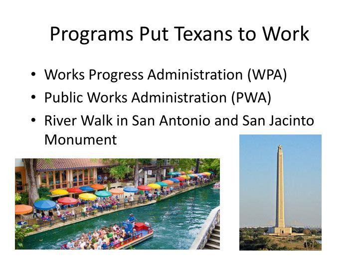 Programs Put Texans to Work