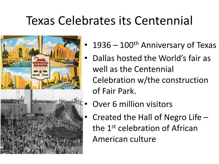 Texas Celebrates its Centennial