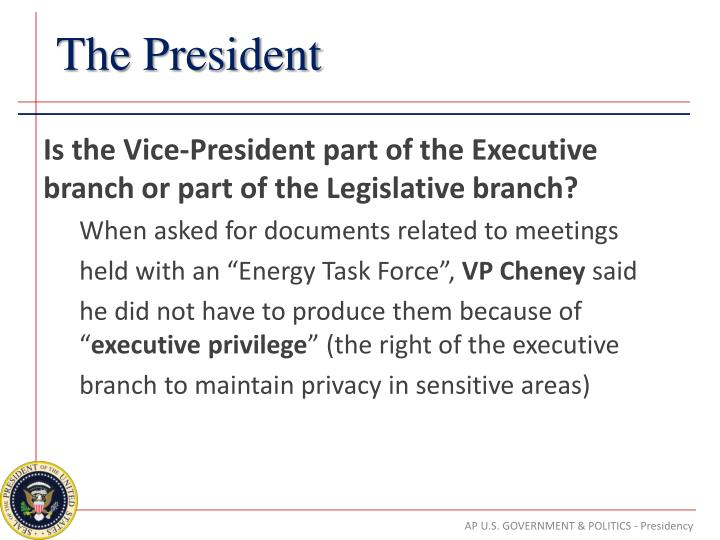 Is the Vice-President part of the Executive branch or part of the Legislative branch?
