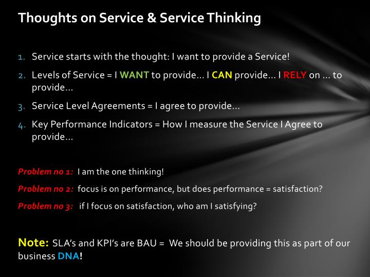 Thoughts on service service thinking