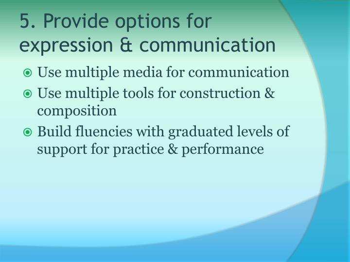 5. Provide options for expression & communication