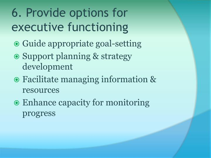 6. Provide options for executive functioning