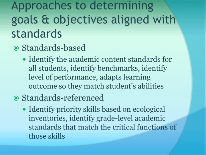 Approaches to determining goals & objectives aligned with standards