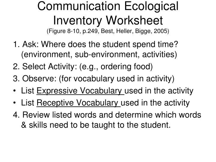Communication Ecological Inventory Worksheet