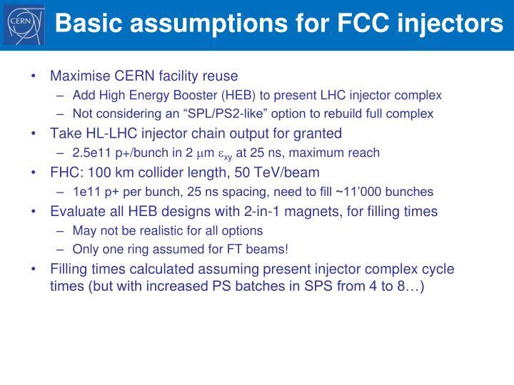 Basic assumptions for fcc injectors