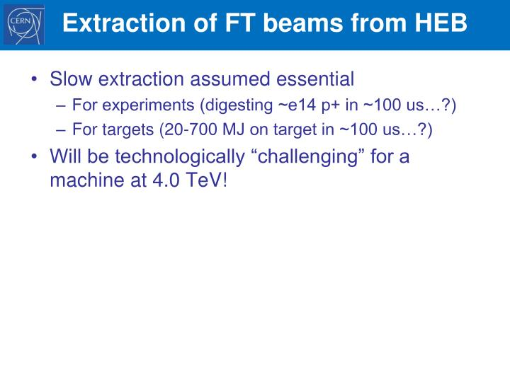 Extraction of FT beams from HEB