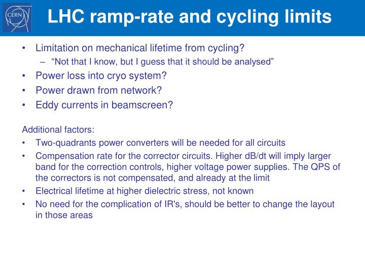 LHC ramp-rate and cycling limits