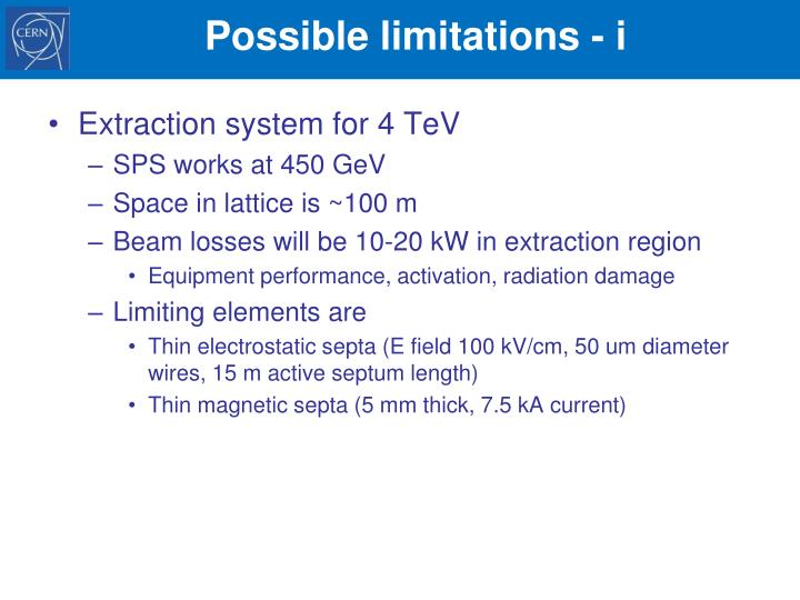 Possible limitations -